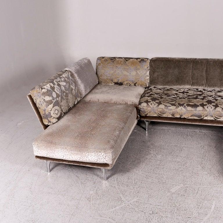 Bretz Napali Samt Stoff Ecksofa Grau Silber Gemustert Sofa Couch For Sale At 1stdibs