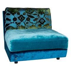 Bretz Napali Velvet Fabric Armchair Blue Patterned