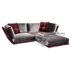 Bretz Napali Velvet Fabric Corner Sofa Incl Plexiglass Table Gray Berry Sofa