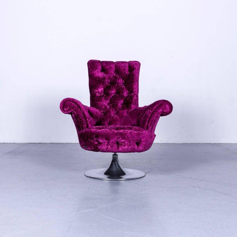 German Bretz Pompadou Fabric Armchair Set Purple Red One Seat