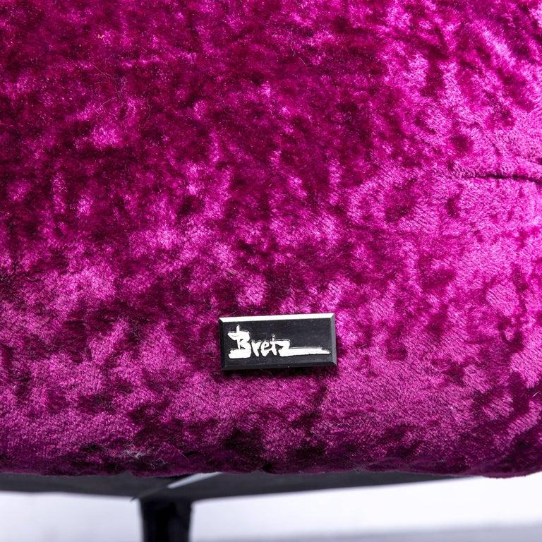 Bretz Pompadou Fabric Armchair Set Purple Red One Seat 1