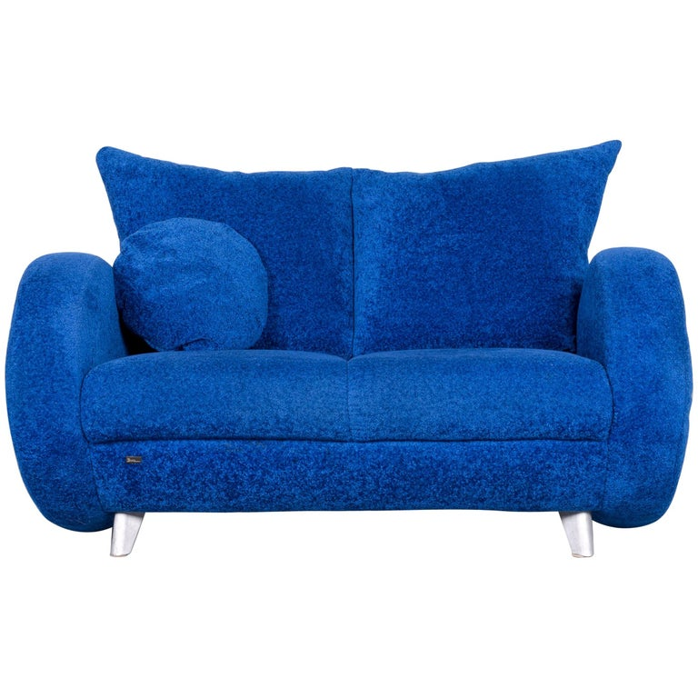 Bretz Popeye Designer Fabric Sofa Blue Two-Seat