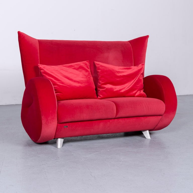 Bretz Popeye Designer Velvet Sofa Red Two-Seat Couch at 1stdibs
