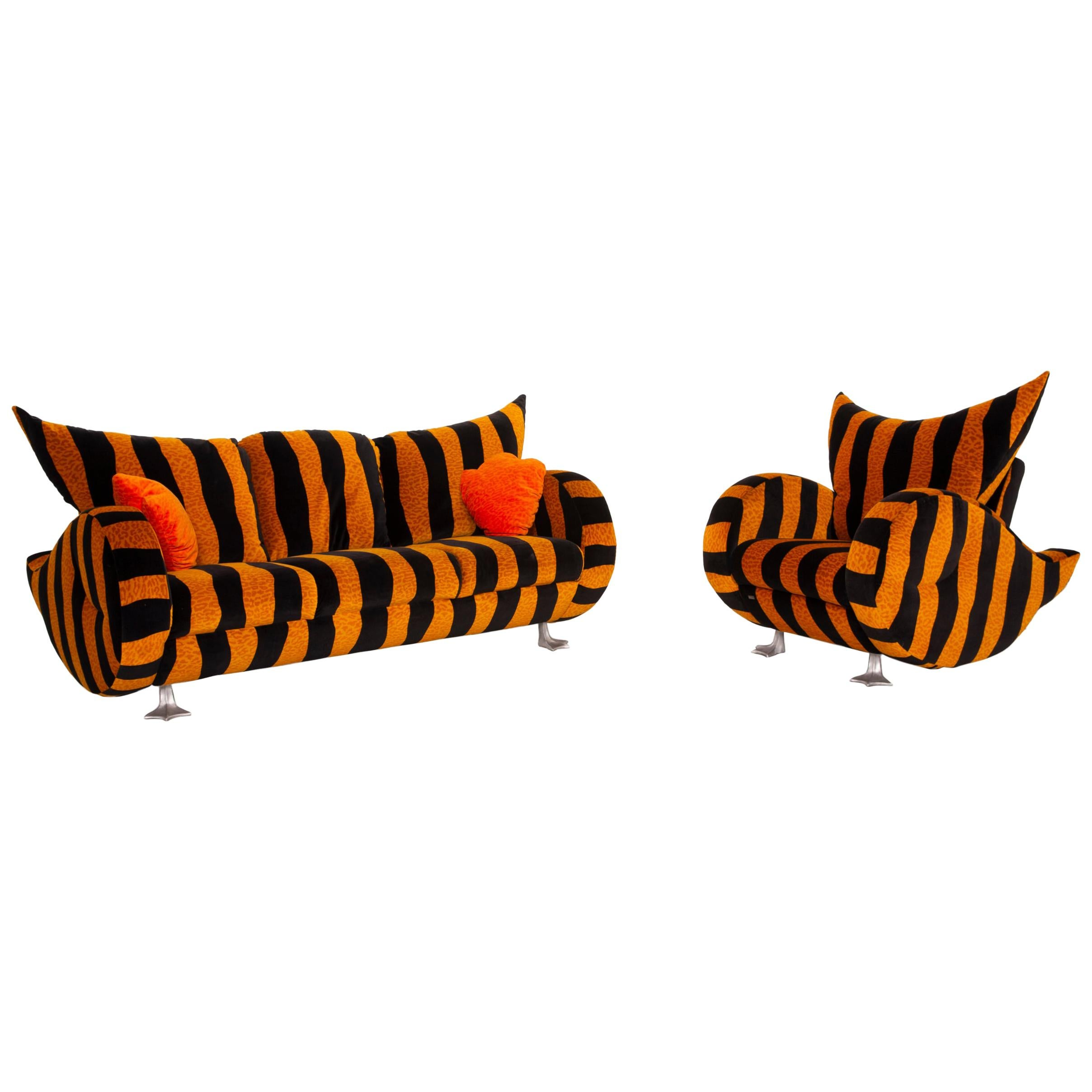 Bretz Prison Duck Fabric Sofa Set Yellow Three Seater Black Tiger Pattern