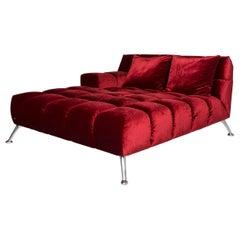 Bretz Velvet Fabric Lounger Red