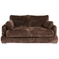 Bretz Velvet Fabric Sofa Brown Two-Seat Couch