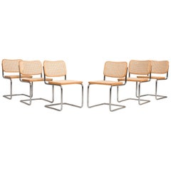 Breuer for Gavina Original Cane Seat Tubular Steel Cesca Chairs 1960s, Set of 6