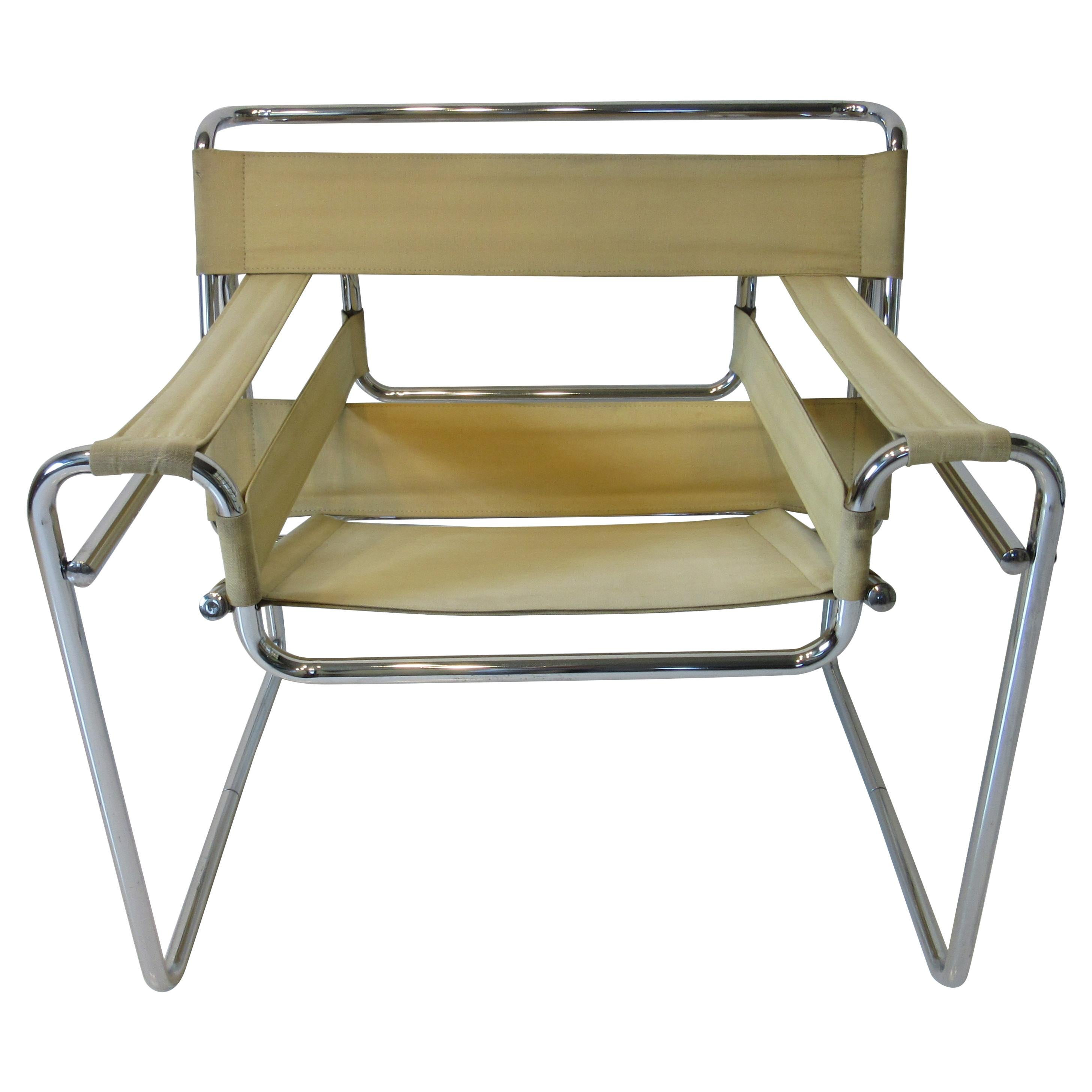Breuer Wassily Canvas and Chromed Lounge Chair