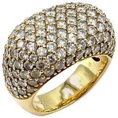 Breuning 3.96 Carat Pave Round Brilliant Diamond 18 Karat Gold Fashion Ring