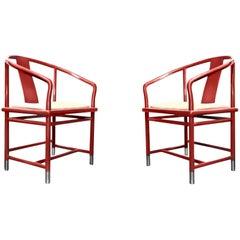 Breuton Ming-Inspired Mandarin Lipstick Red Chromed Steel Armchairs