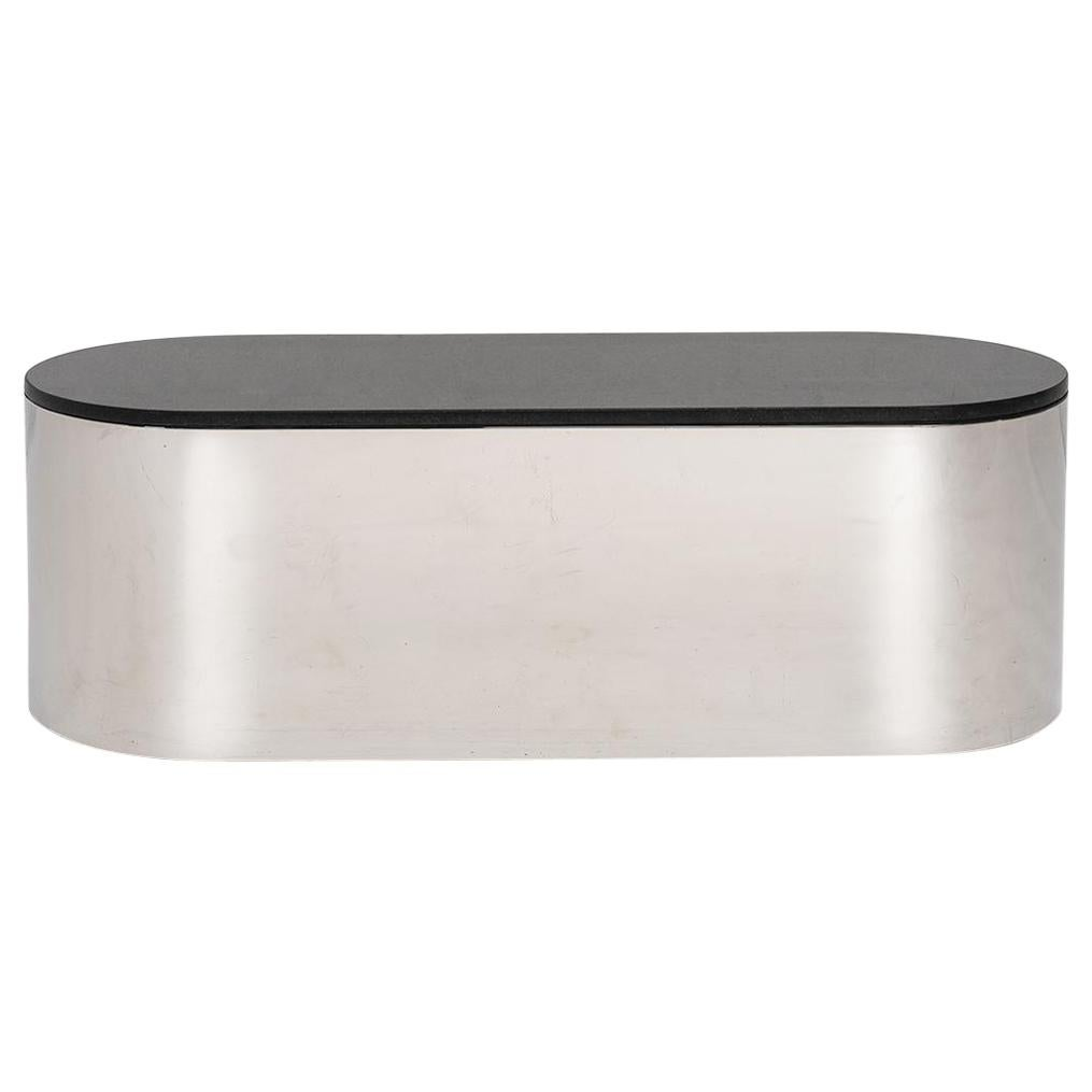 Breuton Stainless Steel and Black Granite Coffee Table, 1970
