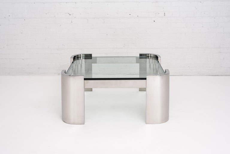 American Breuton Stainless Steel and Glass Top Coffee Table, 1970 For Sale