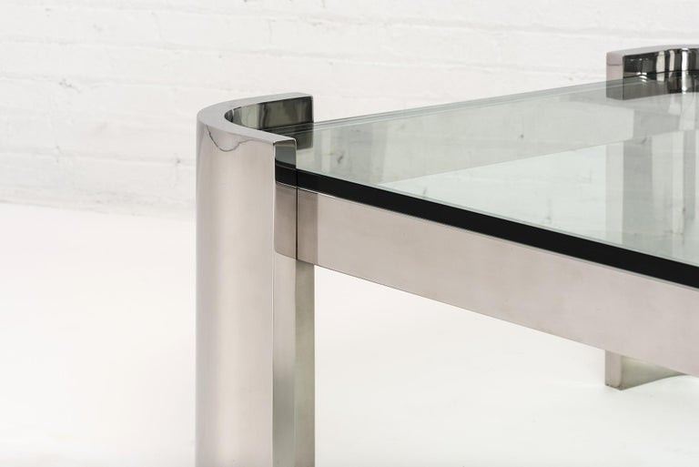 Breuton Stainless Steel and Glass Top Coffee Table, 1970 In Good Condition For Sale In Chicago, IL