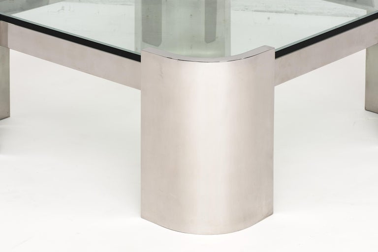 Breuton Stainless Steel and Glass Top Coffee Table, 1970 For Sale 1