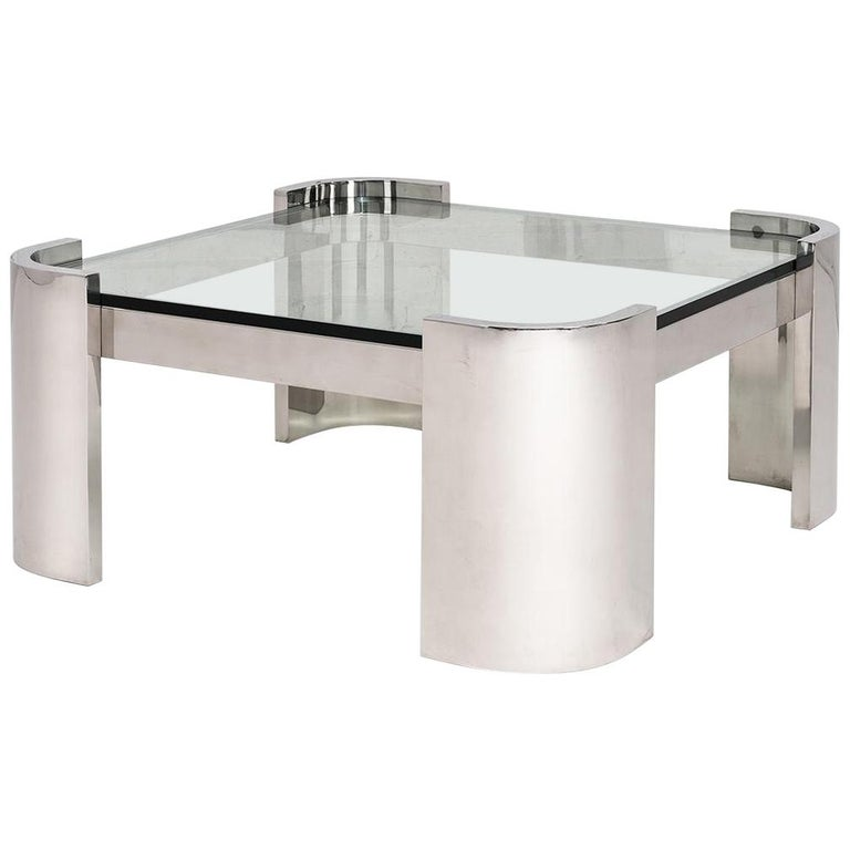 Breuton Stainless Steel and Glass Top Coffee Table, 1970 For Sale