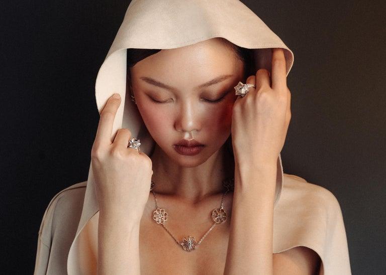 Modern Brevard Customizable Star Engagement Ring For Sale
