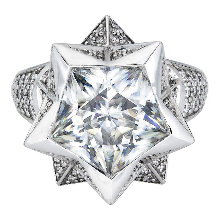 Hexagon Cut Brevard Customizable Star Engagement Ring For Sale