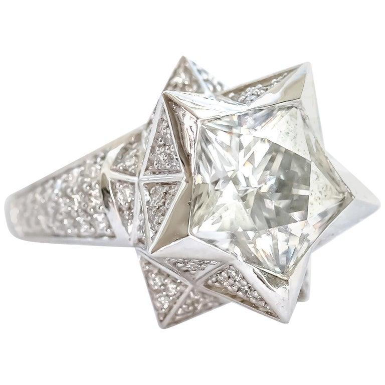 Women's or Men's Brevard Customizable Star Engagement Ring For Sale