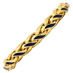 Brevetto Retro Enamel 18 Karat Gold Italian Braided Wheat Bracelet