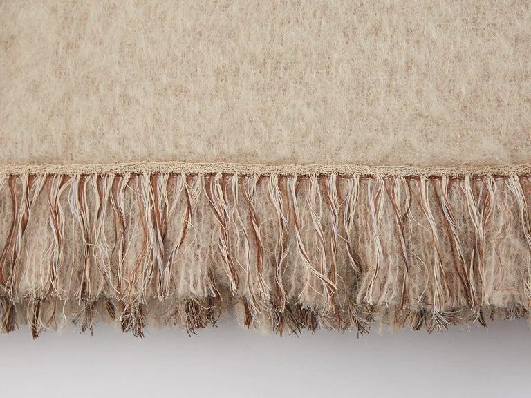 Mid-Century Modern Brewster, Hand Embroidered Beige Throw Blanket For Sale