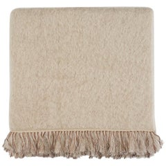 Brewster, Hand Embroidered Beige Throw Blanket