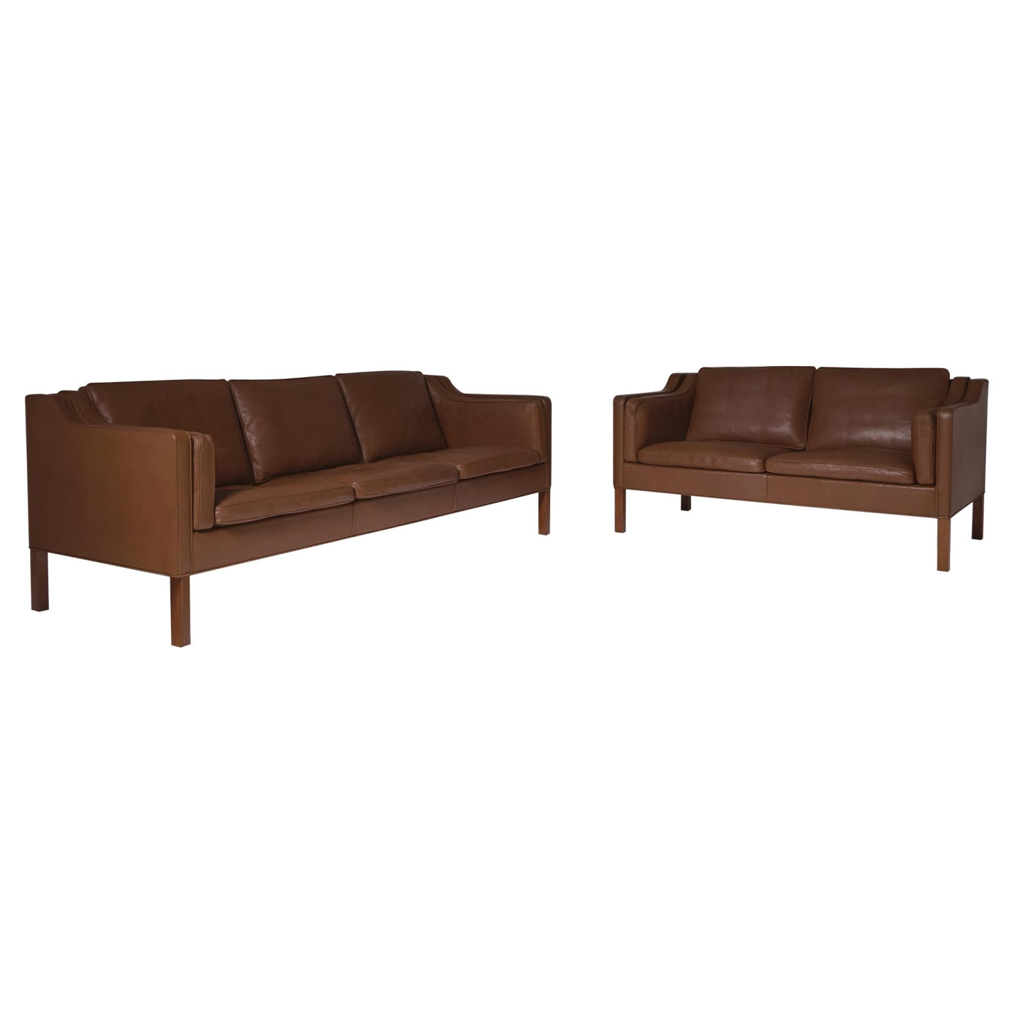 Børge Mogensen 2213 & 2212 Sofa Set for Fredericia in Brown Lea