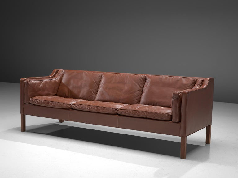 Børge Mogensen for Fredericia Stolefabrik, 3-seat sofa BM2213, leather and stained oak, Denmark 1962.   Very well conditioned 3 seater sofa from Børge Mogensen. This model was designed by Mogensen for his own home, in his goal to create the ultimate