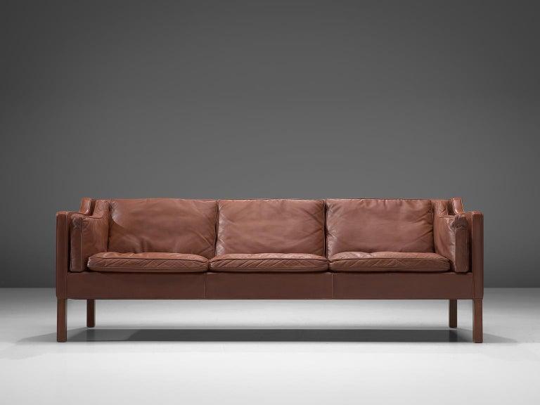 Danish Børge Mogensen 2213 Sofa in Brown Leather For Sale