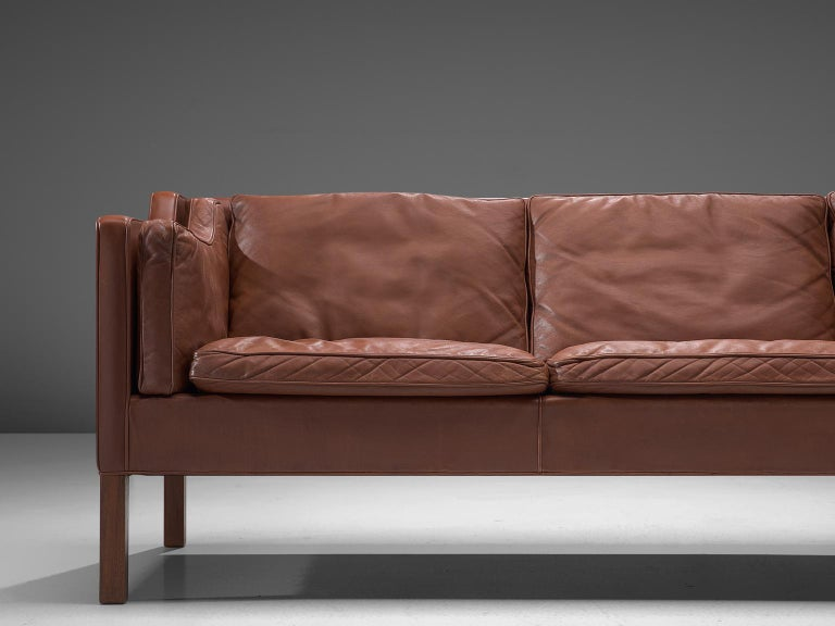 Stained Børge Mogensen 2213 Sofa in Brown Leather For Sale