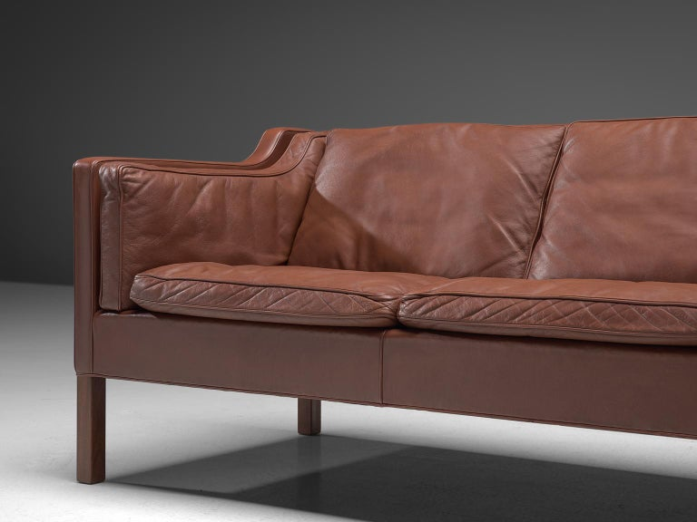 Børge Mogensen 2213 Sofa in Brown Leather In Good Condition For Sale In Waalwijk, NL