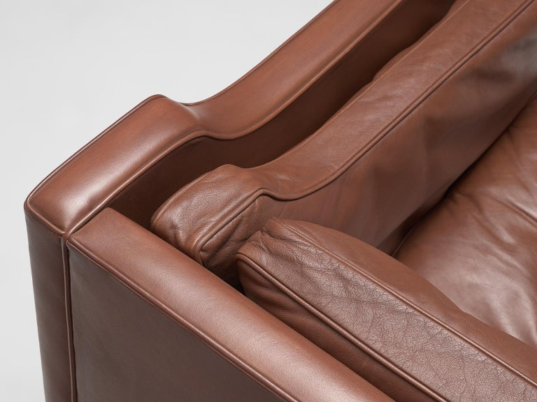 Børge Mogensen 2213 Sofa in Brown Leather For Sale 1