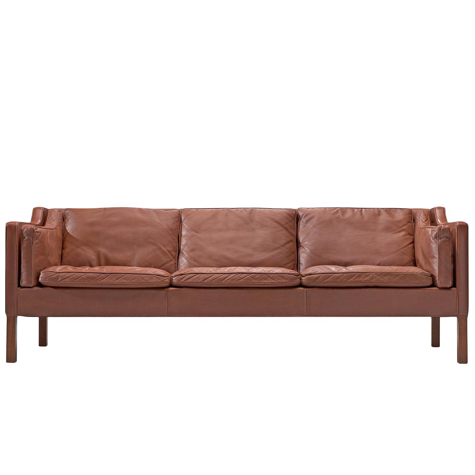 Børge Mogensen 2213 Sofa in Brown Leather