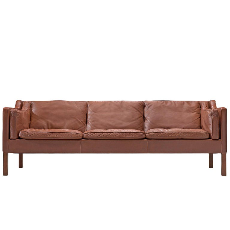 Børge Mogensen 2213 Sofa in Brown Leather For Sale