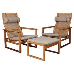 Børge Mogensen 2254 Oak Pair of Sled Lounge Chair w/ Ottoman in Cane