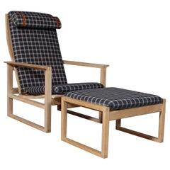 Børge Mogensen 2254 Oak Sled Lounge Chair and Ottoman in, 1956, Denmark