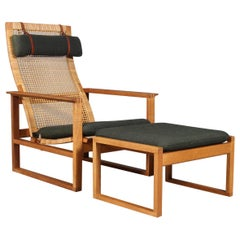 Børge Mogensen 2254 Oak Sled Lounge Chair and Ottoman In Cane, 1956, Denmark