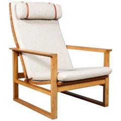 Børge Mogensen 2254 Oak Sled Lounge Chair in Cane, 1956, Denmark