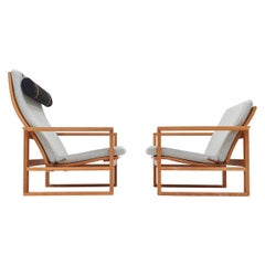 Børge Mogensen 2256 and 2254 Oak Sled Lounge Chairs, Denmark, 1956