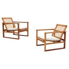 Børge Mogensen 2256 Oak Sled Lounge Chairs in Cane, 1956, Fredericia, Denmark