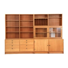 Børge Mogensen 4 Paneled Shelving and Storage Cabinet in Wood and Glass