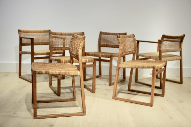 Scandinavian Modern Børge Mogensen, 6 Dining Chairs in Oak and Woven Cane, Denmark, 1957 For Sale