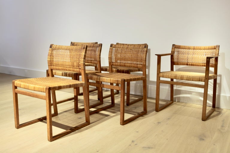 Danish Børge Mogensen, 6 Dining Chairs in Oak and Woven Cane, Denmark, 1957 For Sale