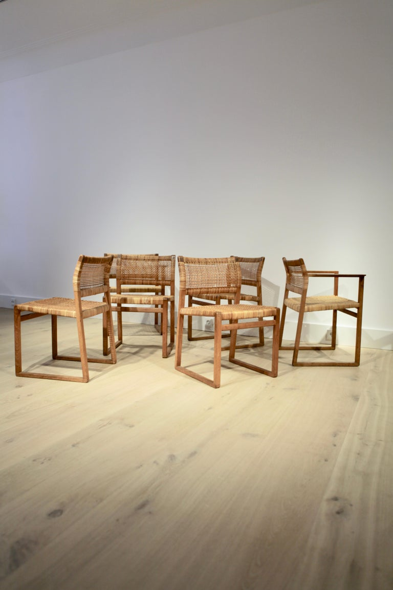 Børge Mogensen, 6 Dining Chairs in Oak and Woven Cane, Denmark, 1957 In Good Condition For Sale In , DE