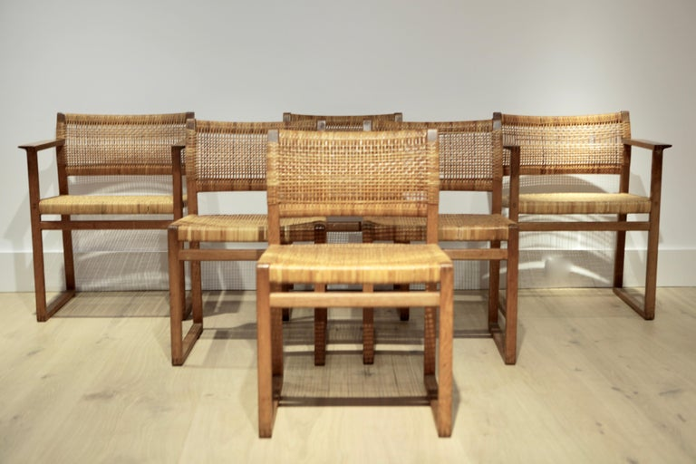Mid-20th Century Børge Mogensen, 6 Dining Chairs in Oak and Woven Cane, Denmark, 1957 For Sale