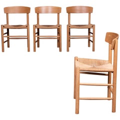 Børge Mogensen a Set of Four J39 Oak Chairs