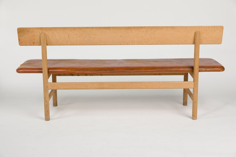 Mid-Century Modern Børge Mogensen Bench Model 3171 for Fredericia Møbelfabrik Seat Leather For Sale
