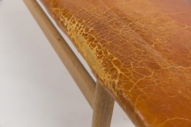 Mid-20th Century Børge Mogensen Bench Model 3171 for Fredericia Møbelfabrik Seat Leather For Sale