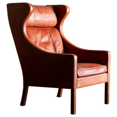 Børge Mogensen Cognac Leather Wingback Chair Model 2204, Denmark, 1960s