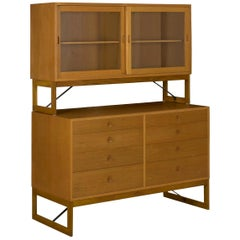 Børge Mogensen Danish Mid-Century Modern Oak Bookcase Cabinet Over Dresser