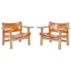 "Børge Mogensen Danish Modern Lounge ""Spanish Chairs"" in Oak and Saddle Leather"
